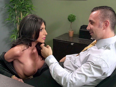 Busty secretary Jaclyn Taylor gets her throat fucked by her boss