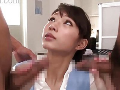 Sexy secretary has a good time with two dildos in her holes
