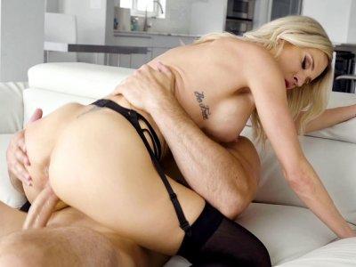 Blonde mom Blake Morgan in stockings rides Jmac's big pecker