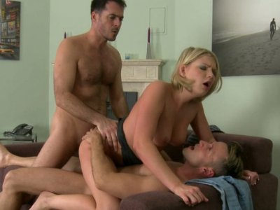 A bit plump blondie gets a double cock penetration