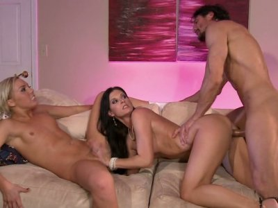 Brunette India Summer and blonde Ally Kay bang one dude