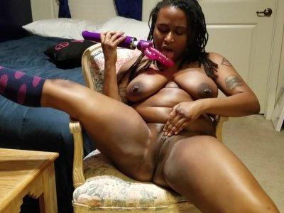 Huge Natural Tits. Loud Moaning Orgasm. Sexy Black Girl w/Knee High Socks.