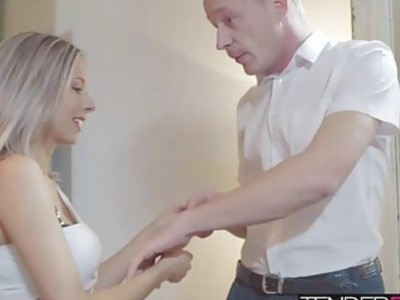 Tracy takes a big sticky cumshot all over her perfect belly