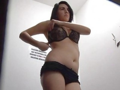 Busty Brunette Fitting Bra and Panties