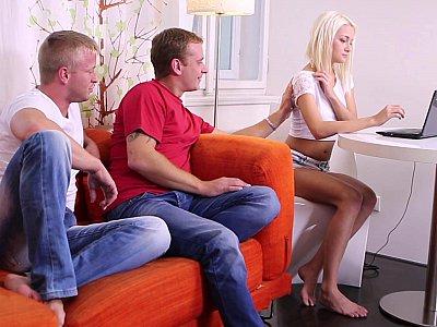 Virgin teen & two horny guys