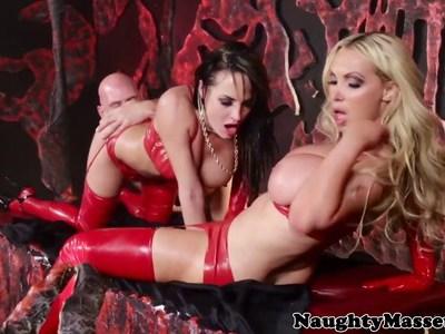 Devilish masseuse Nikki Benz shares jizz