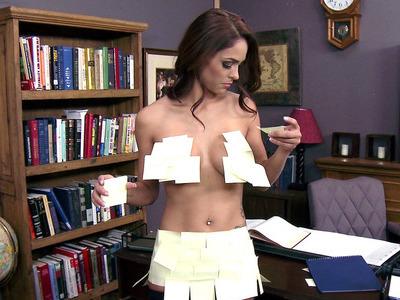 Jasmine Caro seducing her boss by showing him her juggs