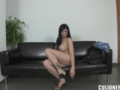 Beautiful brunette with amazing big natural boobs loves anal fucking and doggystyle pose